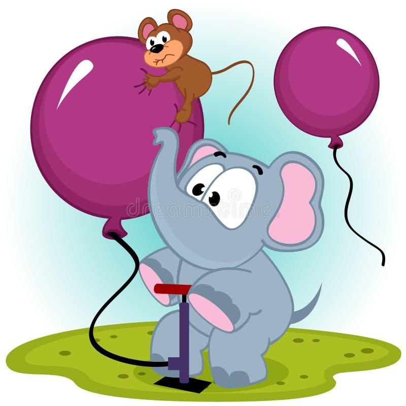 Éléphant gonflant le ballon avec la souris illustration libre de droits