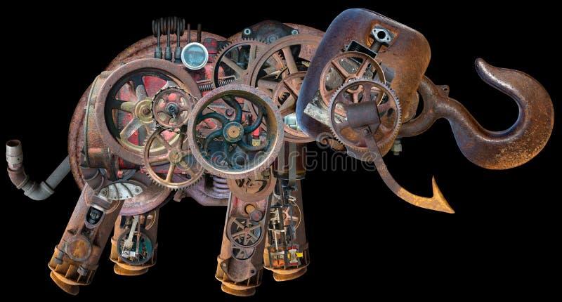 Éléphant industriel mécanique de Steampunk d'isolement photo stock