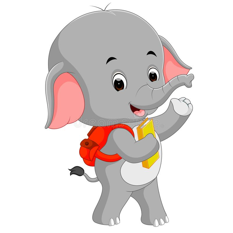Éléphant mignon avec le sac à dos illustration de vecteur