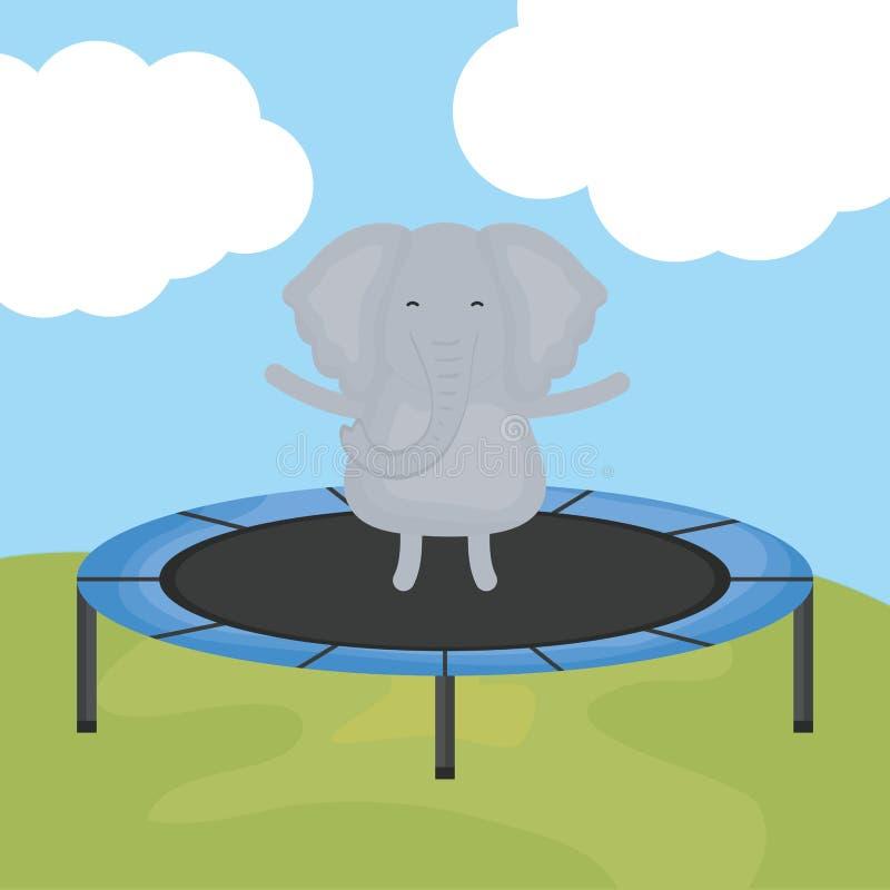 Éléphant mignon dans le caractère élastique de trempoline illustration stock