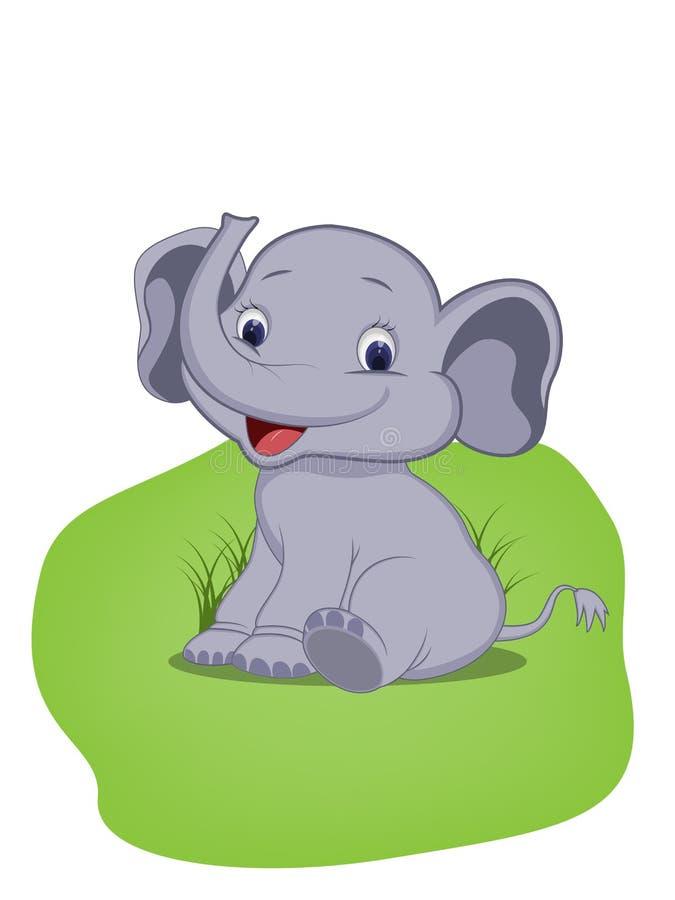 Éléphant mignon de bébé se reposant sur l'herbe photographie stock