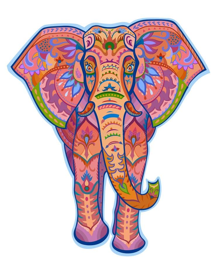 Éléphant Ornementé Ethnique De Couleur Illustration Stock - Image