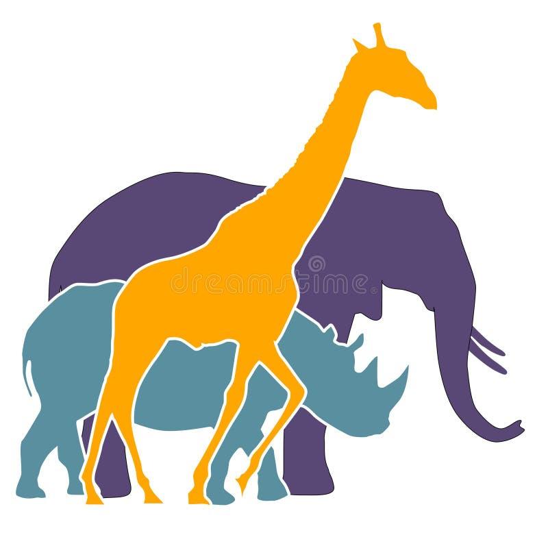 Éléphant, rhinocéros, giraffe illustration stock