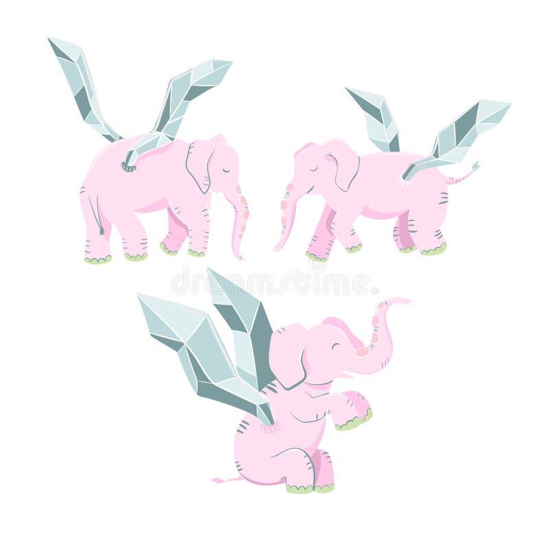 Éléphant rose avec des ailes d'isolement sur le fond blanc illustration de vecteur