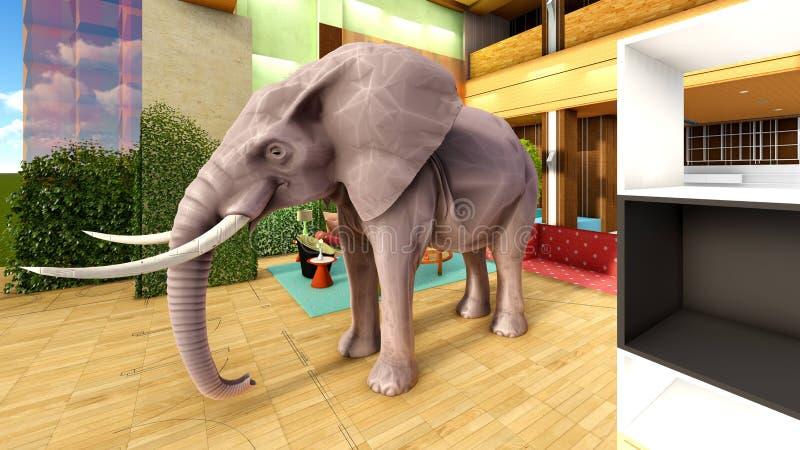 Éléphant rose dans le rendu du salon 3d illustration stock