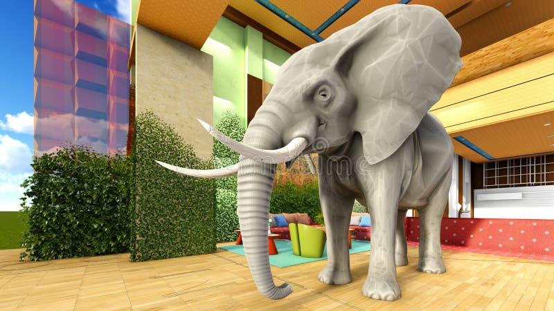Éléphant rose dans le rendu du salon 3d illustration de vecteur