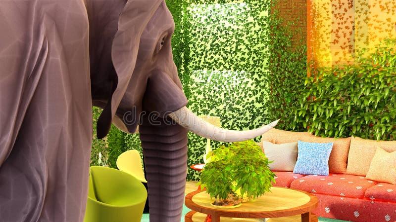 Éléphant rose dans le rendu du salon 3d illustration libre de droits