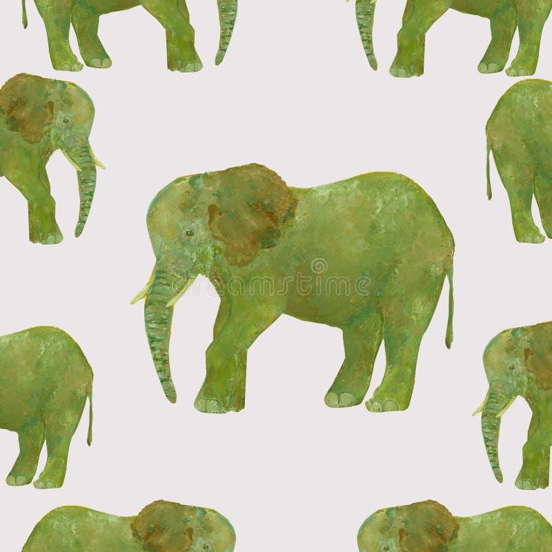 Éléphant sans couture tiré par la main d'aquarelle de modèle sur le fond gris illustration stock