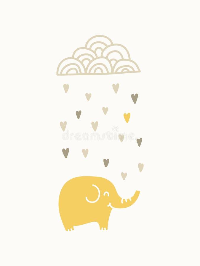 Éléphant sous le nuage pleuvant illustration de vecteur
