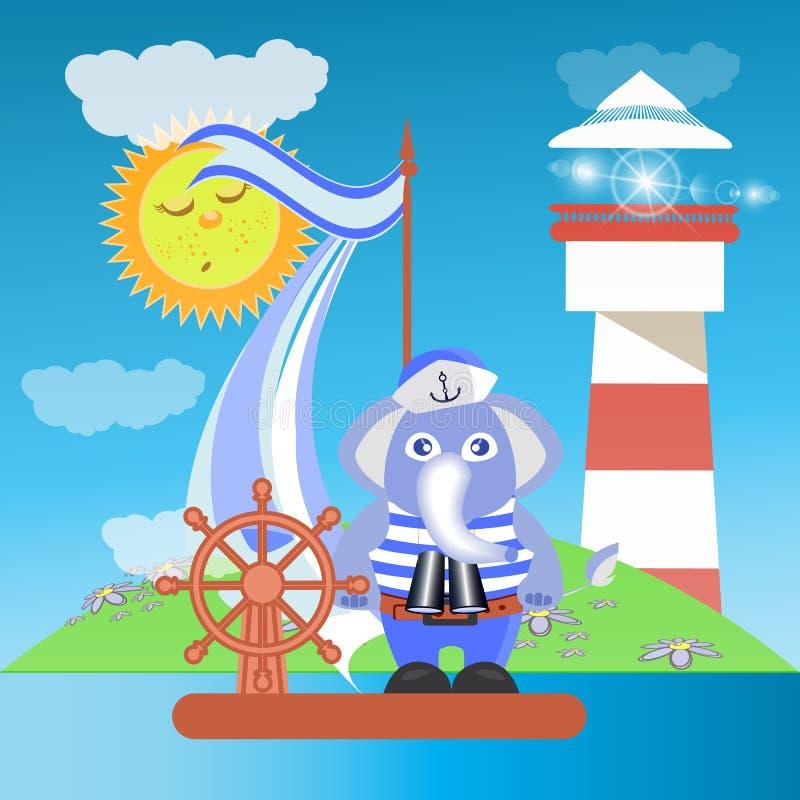 Éléphant sur le bateau en mer avec le phare illustration stock