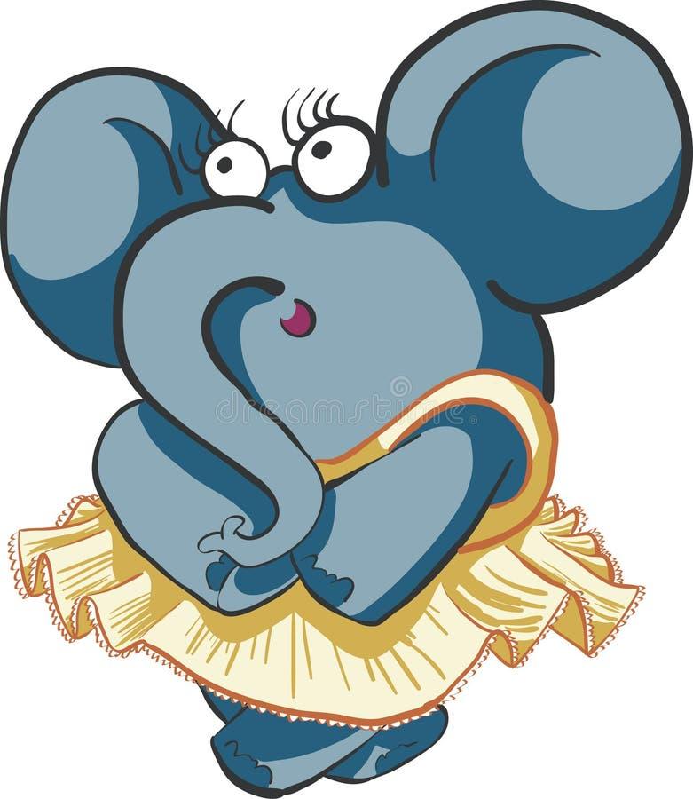 Éléphant timide de danse de fille photos stock