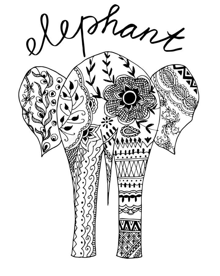 Éléphant tiré par la main illustration de vecteur