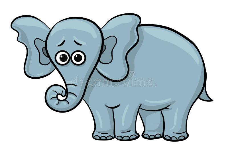 Éléphant triste de bande dessinée illustration stock