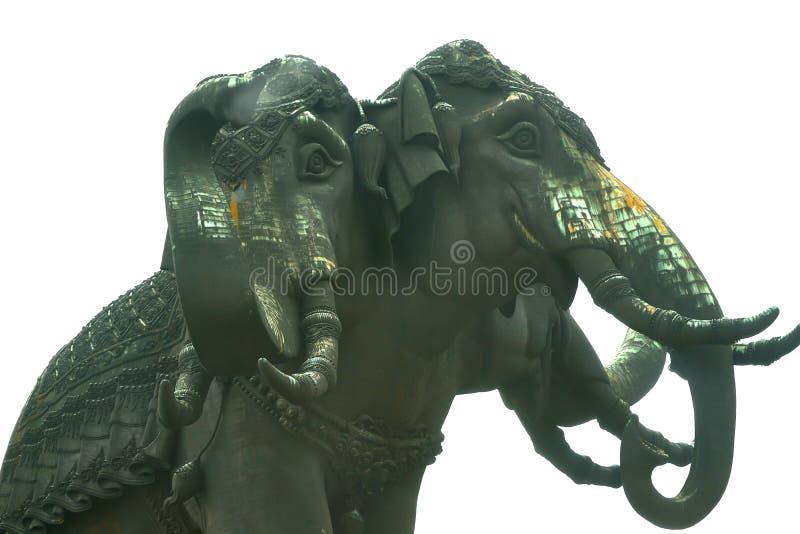 Éléphant trois principal sur le fond blanc d'isolement, vue inférieure image libre de droits