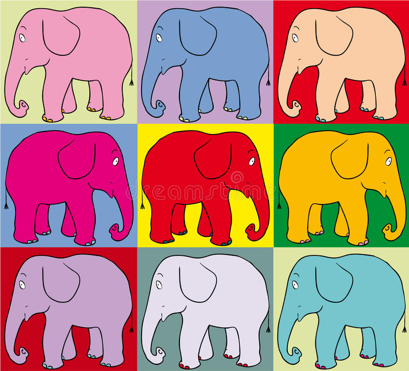 Éléphants colorés illustration de vecteur
