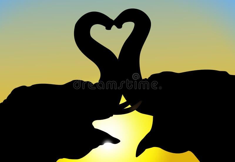 Éléphants dans l'amour illustration libre de droits
