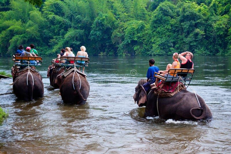 Éléphants de tour de touristes traversant une rivière Kanchanaburi, Thaïlande photographie stock libre de droits