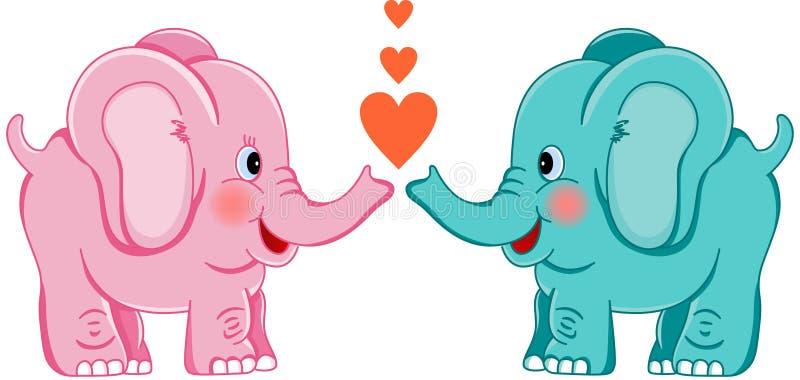 Éléphants mignons dans l'amour illustration libre de droits