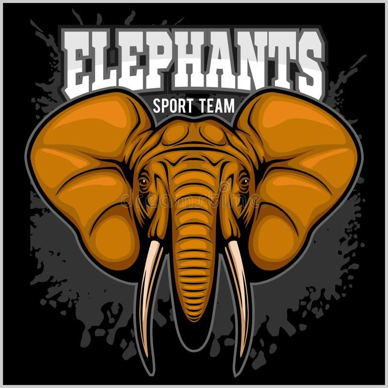 Éléphants - symbole d'équipe de club de sport Insigne de chasse à safari de jaune, défense d'éléphant illustration stock