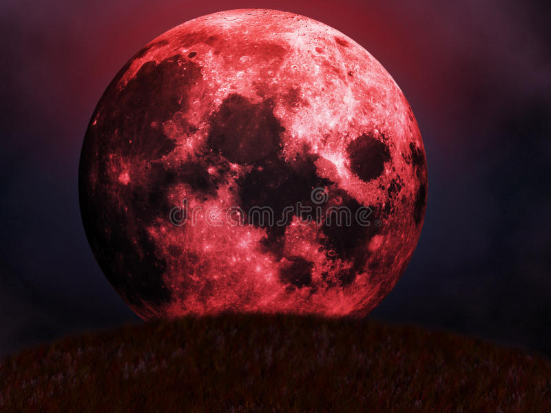 Élévations rouges de lune illustration de vecteur