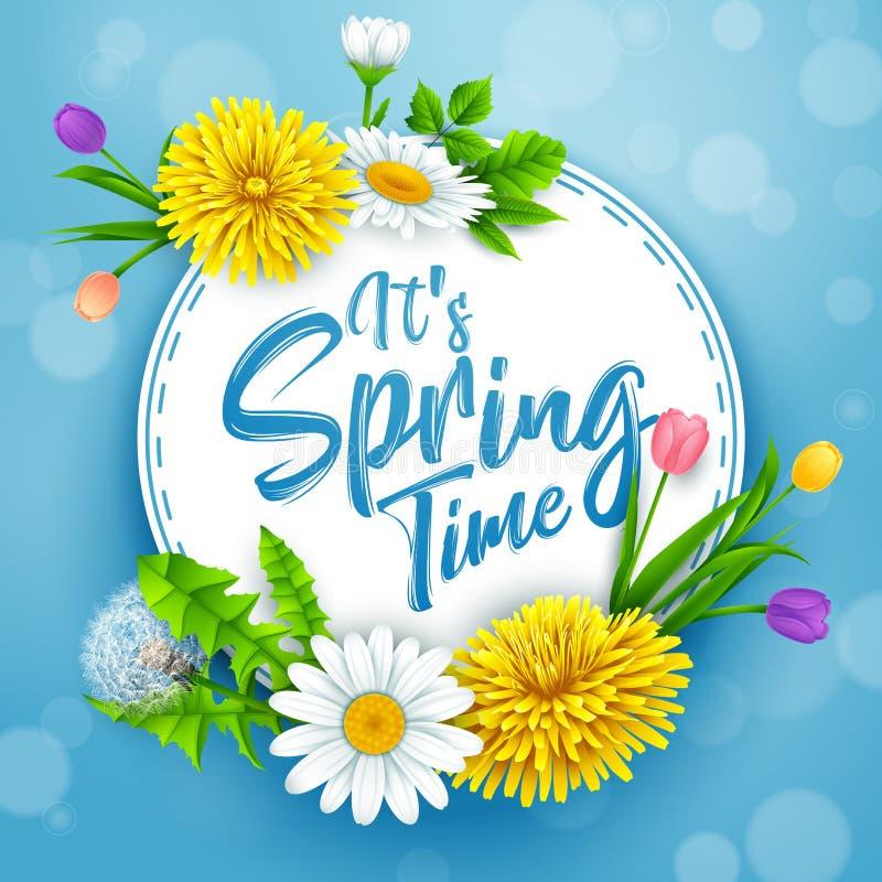 Él bandera del tiempo de primavera del ` s con el marco redondo y flores en fondo del cielo azul libre illustration