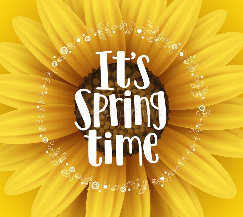 Él diseño de la bandera del vector del tiempo de primavera del ` s con los elementos del texto y de la flor de la tipografía libre illustration