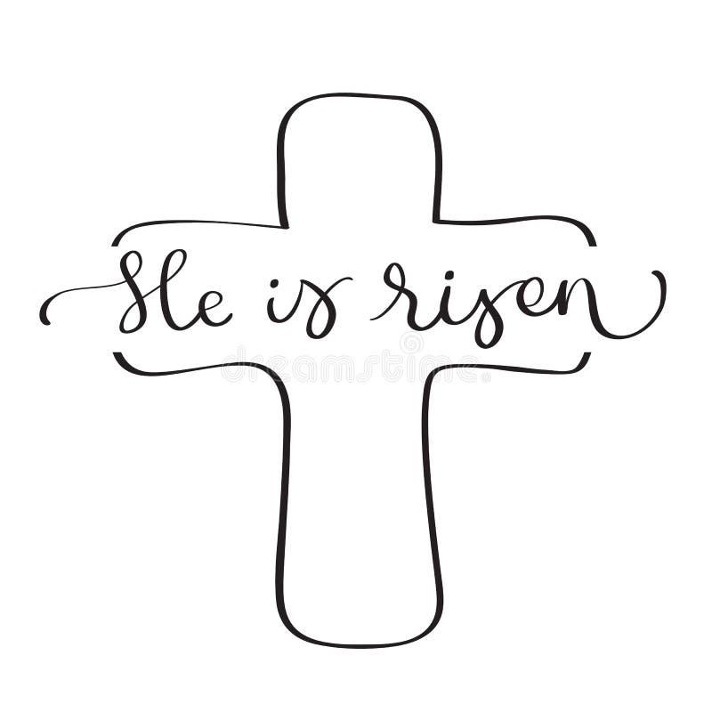 Él es texto subido con la cruz en el fondo blanco Ejemplo EPS10 del vector de las letras de la caligrafía ilustración del vector