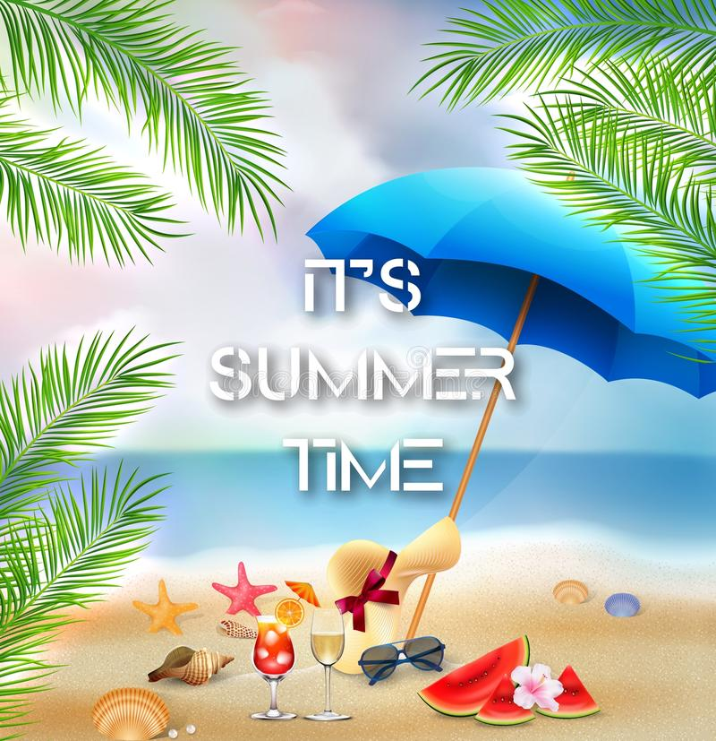 Él fondo del tiempo de verano del ` s con las palmeras y los elementos de la playa stock de ilustración