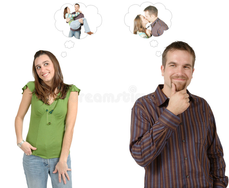 Él piensa, ella piensa foto de archivo