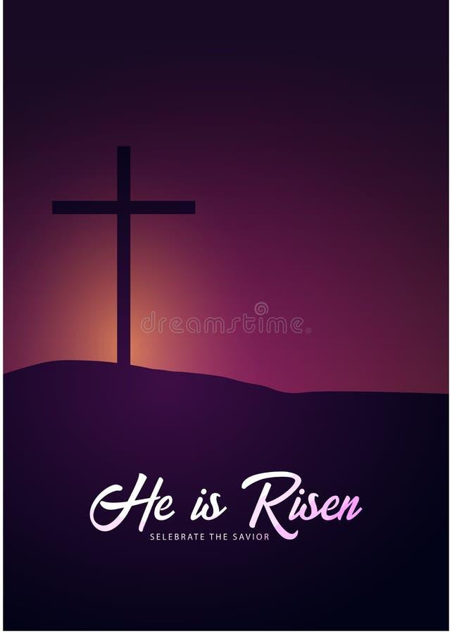 Él se levanta Celebre al salvador Bandera de la iglesia de Pascua con la cruz, motivo cristiano Ilustración del vector libre illustration