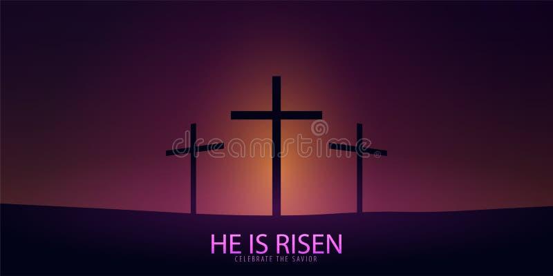 Él se levanta Celebre al salvador Bandera de la iglesia de Pascua con la cruz, motivo cristiano Ilustración del vector stock de ilustración