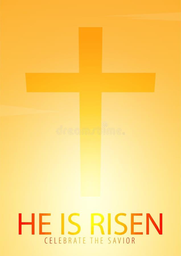Él se levanta Celebre al salvador Bandera de la iglesia de Pascua con la cruz, motivo cristiano Ilustración del vector ilustración del vector