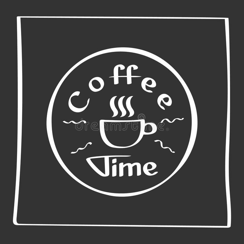 Él tiempo del café de s Cartel del dibujo de la mano con los elementos de la decoración de la frase Tarjeta de la tipografía, ima stock de ilustración