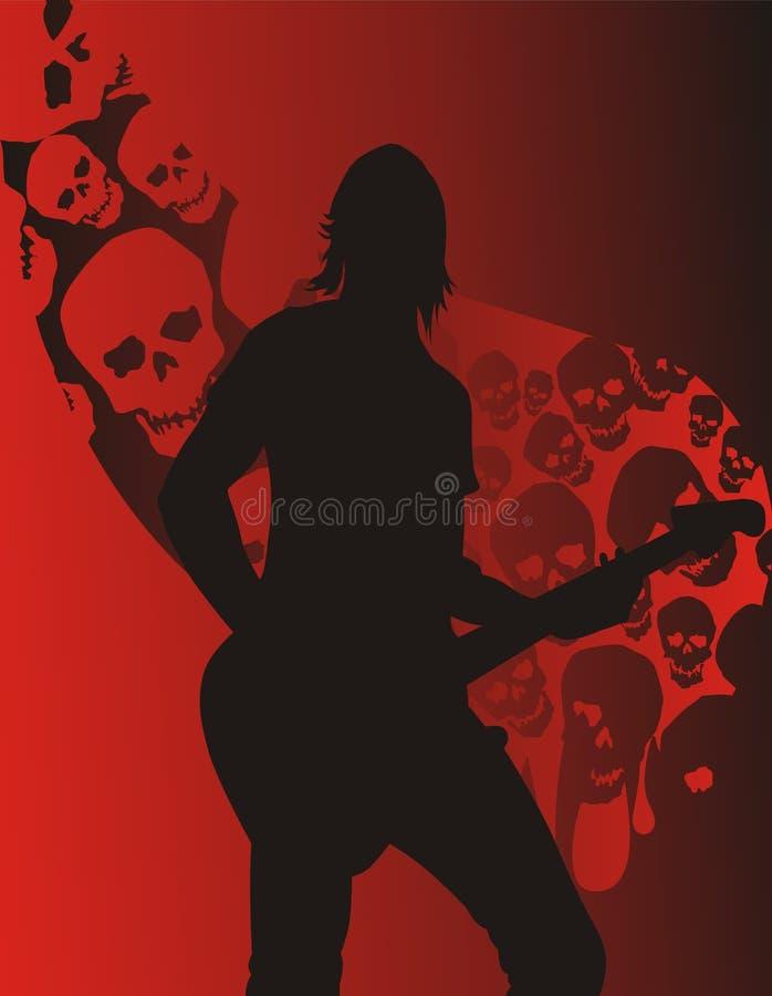 Él toca la guitarra stock de ilustración