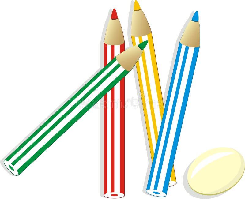 Élastique et réglé des crayons colorés illustration stock