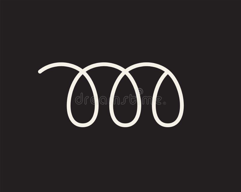 Élastique flexible de fil de spirale blanche sur le noir illustration libre de droits