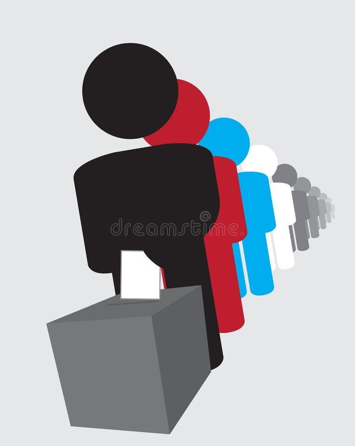 Électeurs d'élection restant dans la file d'attente pour émettre des voix illustration stock