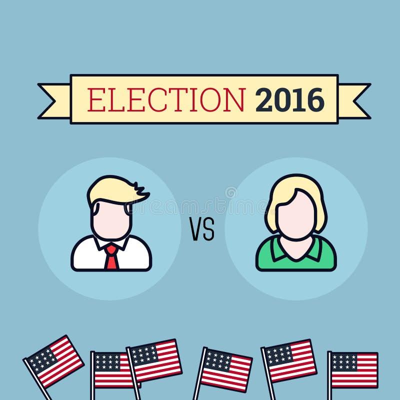 Élection américaine 2016 Deux candidats Illustration plate de style illustration stock