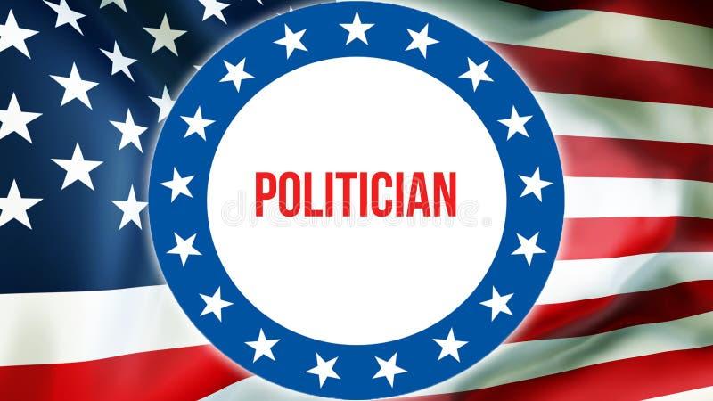 Élection de politicien sur un fond des Etats-Unis, rendu 3D Drapeau des Etats-Unis d'Amérique ondulant dans le vent Votant, démoc illustration stock