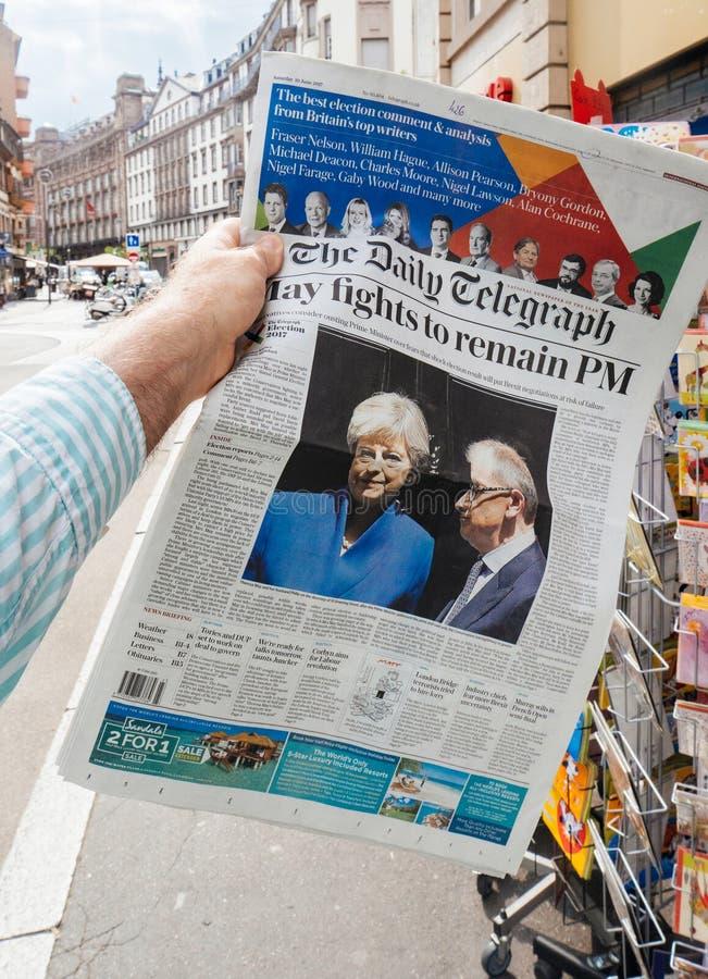 Élection générale du Royaume-Uni de 2017 réactions en cours d'impression photo libre de droits