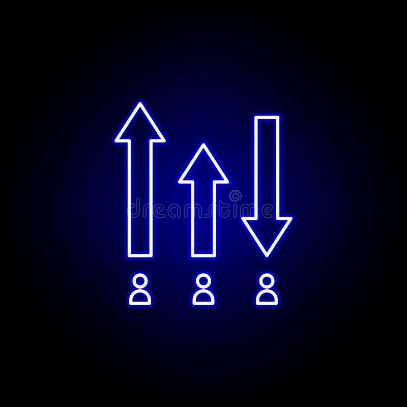 Élections évaluant l'icône dans le style au néon Des signes et les symboles peuvent ?tre employ?s pour le Web, logo, l'appli mobi illustration stock