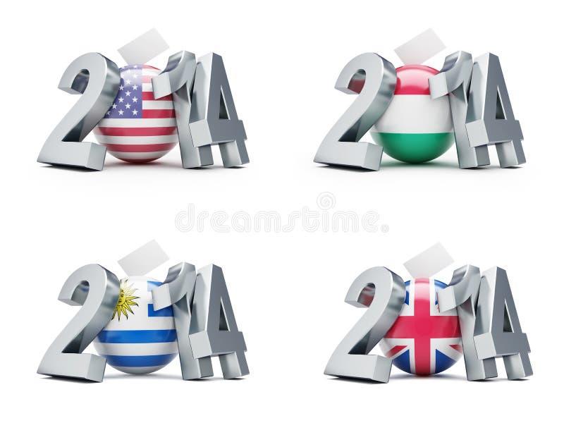 Élections aux Etats-Unis, Hongrie, Uruguay, Grande-Bretagne 2014 illustration de vecteur