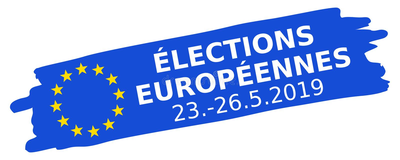 Élections Européennes 23.-26.5.2019, French for 2019 European Parliament Election, blue brush stroke, EU flag, oblique, banner. Élections Europé royalty free illustration