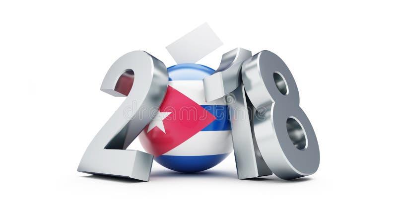 Élections parlementaires au Cuba 2018 sur une illustration blanche du fond 3D, rendu 3D illustration libre de droits