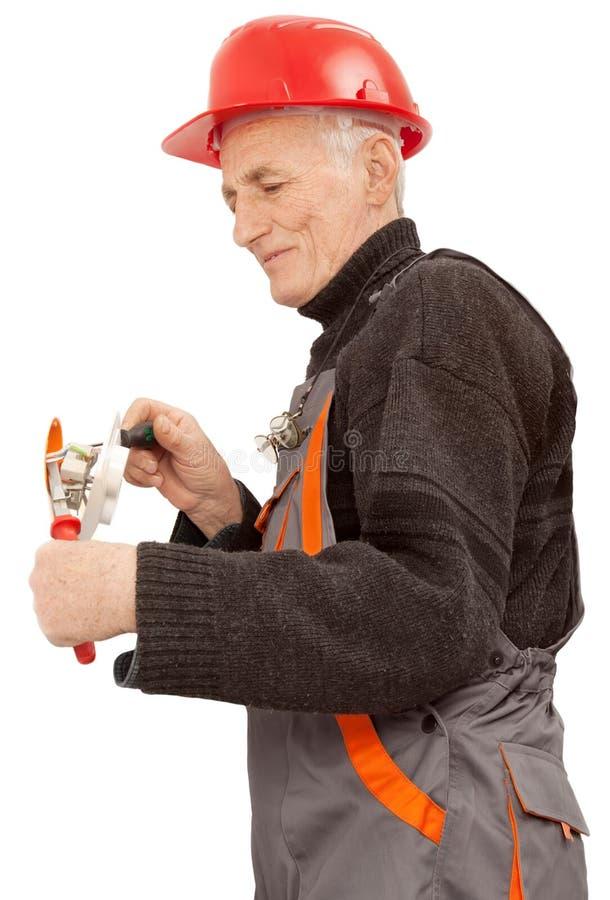 Électricien au travail photo stock