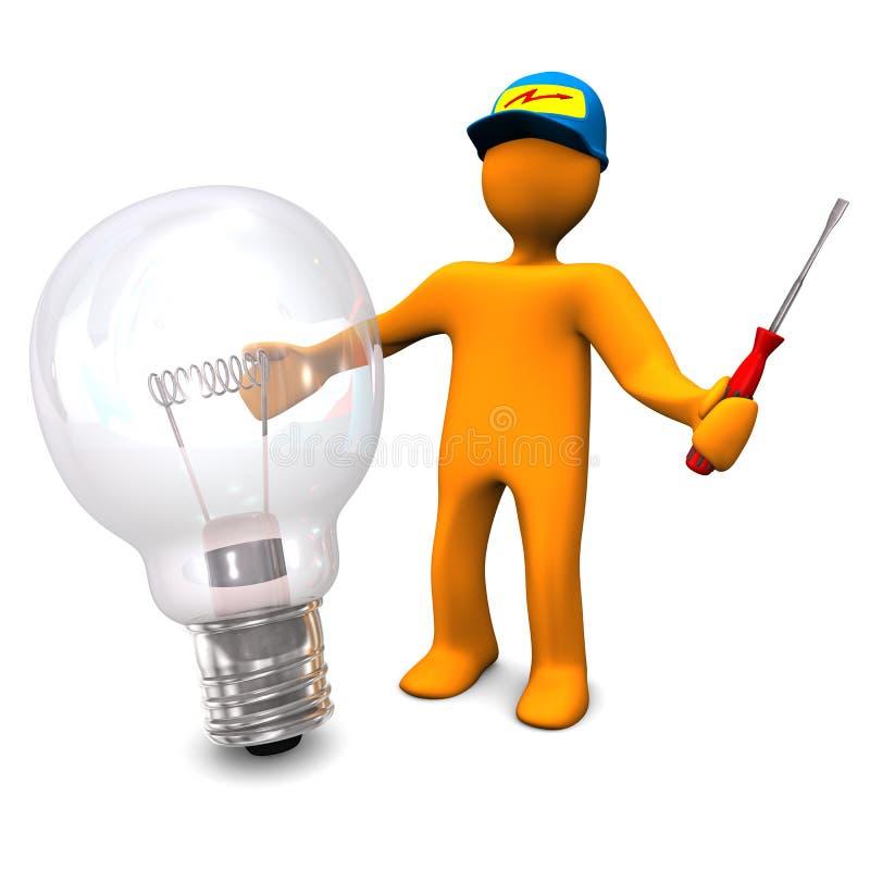 Électricien avec l'ampoule illustration de vecteur