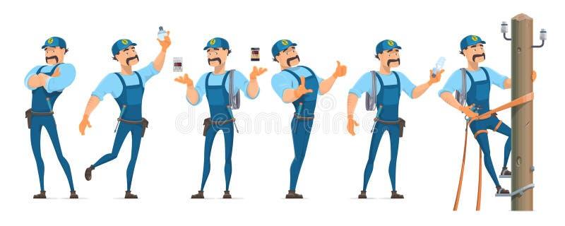 Électricien coloré Characters Set illustration stock