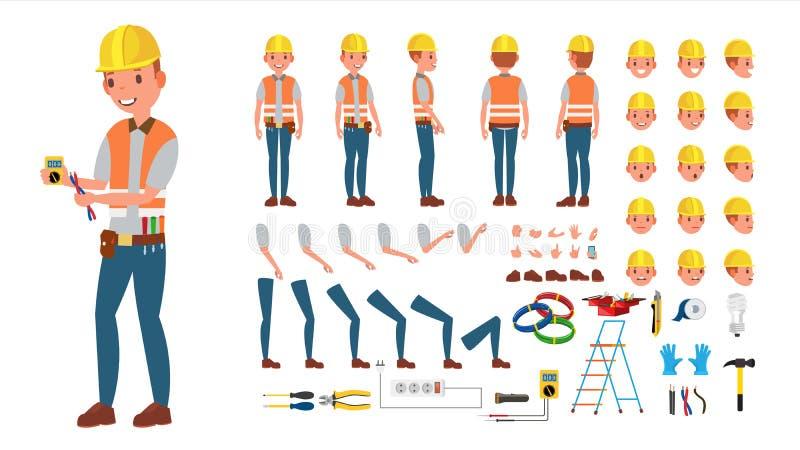 Électricien Vector ensemble animé de création de caractère Outils et équipement électroniques Intégral, avant, côté, vue arrière illustration stock