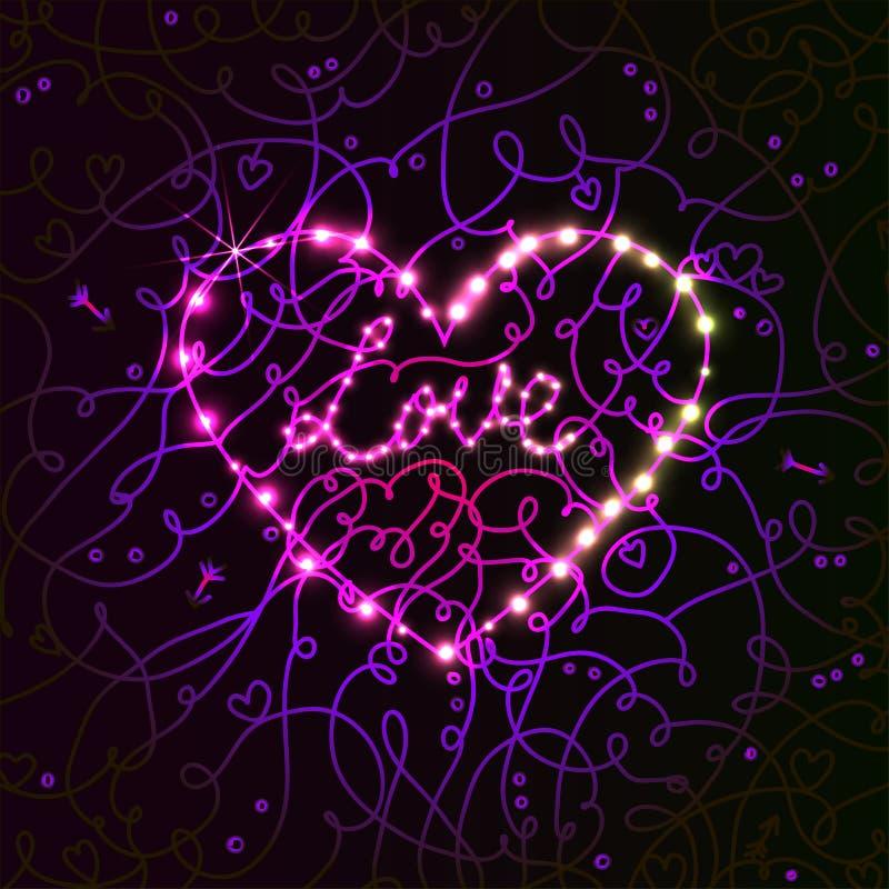 Électro carte lumineuse de jour de valentines de coeur. illustration de vecteur