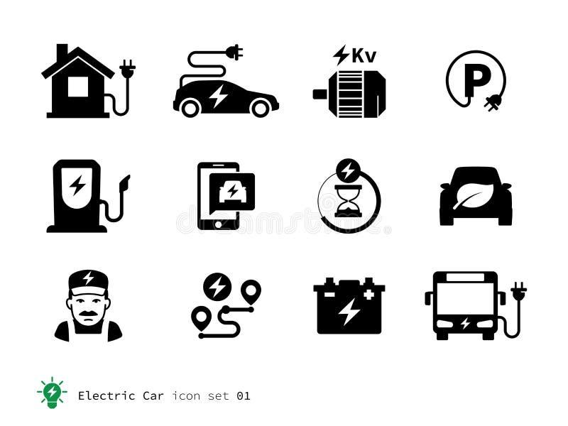 Électro collection d'icônes de voiture illustration de vecteur